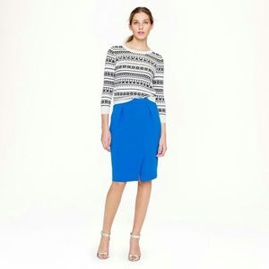 J.Crew Blue Pencil Skirt with front slit Sz 4